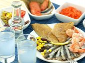 stock photo of ouzo  - Misc seafood and greek alcohol drink ouzo - JPG