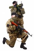 stock photo of ak 47  - mercenaries with AK 47 and rocket launcher isolated on white background - JPG