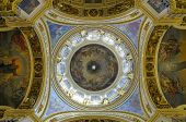 ST. PETERSBURG, RUSSIA - JUNE 30, 2008: Dome of St. Isaacs cathedral viewed from the bottom. It is the largest orthodox basilica and the fourth largest cathedral in the world