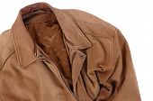 foto of bomber jacket  - Classic tan leather jacket isolated on white - JPG