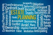 Estate Planning word cloud on blue background