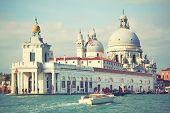 Santa Maria della Salute church on Grand Canal in Venice, Italy. Instagram style filtred image