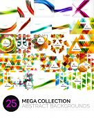 Mega collection of triangular, wave and other geometric abstract backgrounds