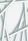 White bars over bright honeycomb structure. Abstract technology background