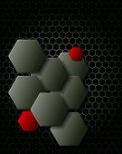 Dark gray hexagons technology and communication background