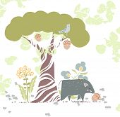 stock photo of acorn  - forest theme card with wild pig and acorn - JPG