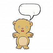 frightened teddy bear cartoon with speech bubble