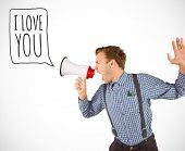 Geeky hipster shouting through megaphone against white background with vignette