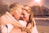 stock photo of couple sitting beach  - Smiling couple sitting on the beach under blanket on a sunny day - JPG