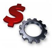 Dollar And Gear Wheel