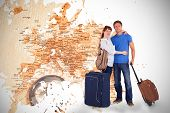 Happy couple going on holiday against world map with compass showing southern asia