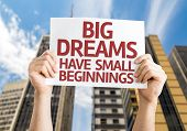 Big Dreams Have Small Beginnings card with a urban background
