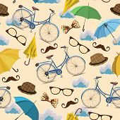 stock photo of bowing  - Seamless pattern with blue vintage bicycles - JPG