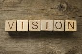 The word Vision on a wooden toy blocks
