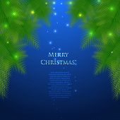 Festive Christmas card with branches of spruce.