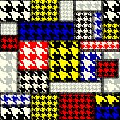 Patchwork with houndstooth pattern in retro style.