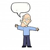 cartoon old man spreading arms wide with speech bubble