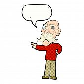 cartoon annoyed old man pointing with speech bubble