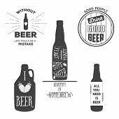 Vintage Beer Emblems, Labels And Design Elements. Typography Illustrations. For Example, It Can Be P
