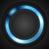 Blue glowing circle concept logo. Vector design