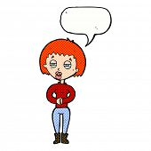 cartoon tired woman with speech bubble
