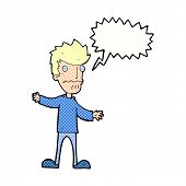 cartoon nervous man with speech bubble