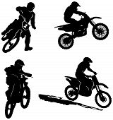 pic of motorcycle  - Set of silhouettes of sport motorcycles riders - JPG