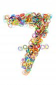 Colorful Elastic Rubber Bands Shape Number Seven