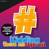 Colorful and cheerful cartoon font for children. Symbols 2