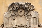 Mascaron on the Art Nouveau building in Prague, Czech Republic.
