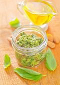 Fresh pesto sauce in a glass jar