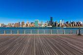 Manhattan New York sunny skyline East River sunshine NYC USA