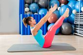 Pilates Teaser exercise woman on mat gym indoor and swiss balls background