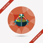 pic of gift basket  - Fruit Gift Baskets Flat Icon With Long Shadow - JPG