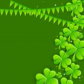 Happy St. Patrick's Day celebration greeting card design with Irish lucky clover leaves and glossy bunting decoration on green background.