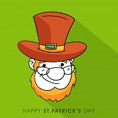 Smiling face of Leprechaun for Happy St. Patrick's Day celebration on green background.