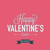 Happy Valentines Day celebration greeting card with text Be Mine on pink abstract background.