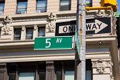 Fifth avenue green sign 5 th Av New York Manhattan USA