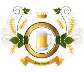 Bright beer emblem over white background