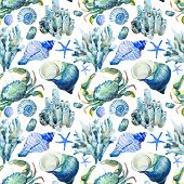 pic of crab  - Beautiful watercolor vector pattern with corals shells and crabs - JPG
