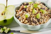 Healthy Bowl Of Muesli, Apple For A Nealthy Breakfast