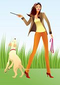 image of poodle skirt  - Sexy woman with a dog in the park  - JPG
