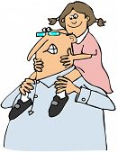 picture of grandpa  - This illustration depicts a Grandpa giving his granddaughter a piggy back ride - JPG