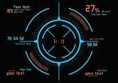 image of futuristic  - Futuristic blue and orange infographics as head - JPG