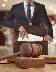 stock photo of counseling  - Caucasian lawyer in court - JPG