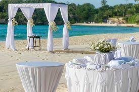 stock photo of cabana  - beautiful wedding arch - JPG