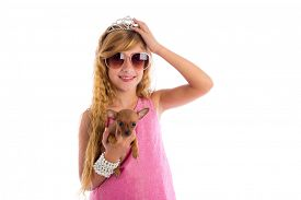 stock photo of princess crown  - crown princess blond girl with puppy chihuahua dog portrait happy smiling - JPG