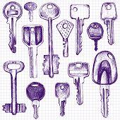 picture of ballpoint  - set of different keys - JPG