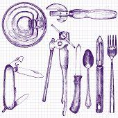 stock photo of ballpoint  - set of different kitchen utensil - JPG