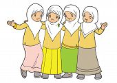 image of humble  - Group of Indonesian muslim little girls hanging out together - JPG